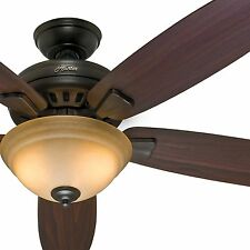 "54"" Hunter ENERGY STAR Ceiling Fan, Premier Bronze - Light Kit and Remote"