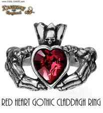 Gothic Red Heart Pewter Claddagh Ring/Alchemy Gothic,Horror,Romantic,RING SIZE 6