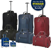 Hand Luggage Set 35x20x20 Holdall & 55x35x20 Cabin Bag Trolley Approved Ryanair