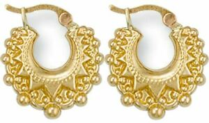 9ct Gold Victorian Design Spiked Ladies Creole Hoop Earrings - 3 Sizes