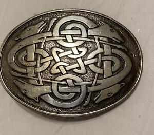 LEE RIVER BELT CO IRELAND BELT BUCKLE Celtic Design Snap On Fox?