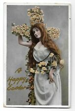 1913 Raphael Tuck Easter Postcard ~ Lovely Lady, Cross of Roses ~ Gem Glosso