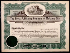 New listing Antique Vintage Mahanoy City Press Publishing Stock Certificate / Pennsylvania