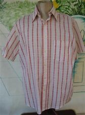 Vtg Shirt Short Sleeve Mens Red Whiite Plaid & stripe by BVD Traditionals 16 1/2