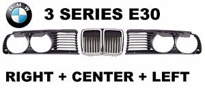 NEW BMW E30 3-Series 1982-1994 Front Headlight Gril Grills SET Left+Right+Center