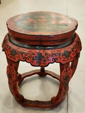 """Old Vintage Chinese  Wood Red Lacquered Stool 18.5"""" H X 14"""" D"""