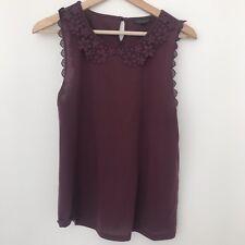 Topshop Maroon Red Burgundy Peter Pan Lace Crochet Collar Top Sleeveless UK 12
