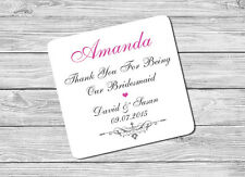 Personalised Bridesmaid Name & Date Drink Coaster Mat Wedding Day Gift