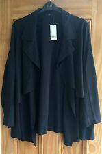Evans New Black Waterfall Frill Jacket Blazer Top Size 18-28 RRP=£45