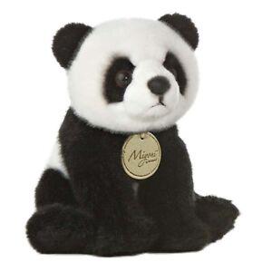 """7"""" Panda - Small Aurora Miyoni Plush Stuffed Animal Toy Cute Cuddly Bear Black"""