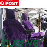 Purple Premium Quality Australian Sheep Skin Car Short Wool Front Seat Cover