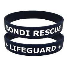 BONDI RESCUE + LIFEGUARD + Silicone Wristband - Two Sided Navy / White Accessory