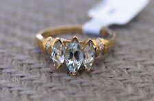 NEW 14K YELLOW GOLD 1.50ct. AQUAMARINE & DIAMOND RING