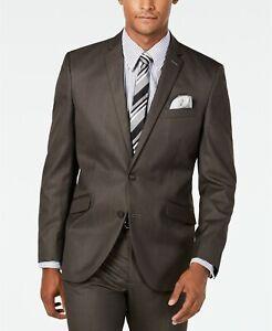 $295 Kenneth Cole Unlisted Men's Slim-Fit Sharkskin Suit Jacket 36R Brown