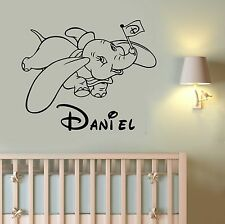 Custom Name Dumbo Wall Decal Disney Vinyl Sticker Cartoon Art Nursery Decor dum1