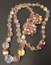 Vintage 40s 50s Faceted PINK Glass Crystal Necklace w/ Matching Earrings