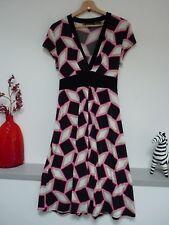 Ladies Lovely Principles Black Mix V Neck Stretch Midi Tie Dress Size 14, Vvgc