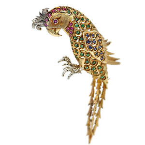 Sapphire Emerald Ruby Vintage Parrot Brooch in 18k Yellow Gold