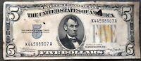 USA 5 Dollar 1934 A North Africa Yellow Seal Selten Schein Five Banknote #14400