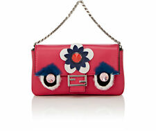New Fendi Leather Micro Baguette With Fur Pink Cross Body Bag Fuschia