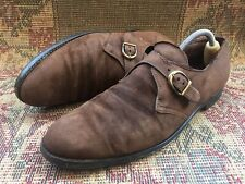 Alden 953 single Monk Strap Brown Suede Leather Dress Shoes Size USA 10.5 UK 9.5