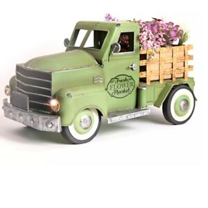 Pre-Lit Battery-Operated LED Retro SPRING Metal Pickup Truck w/ Flowers