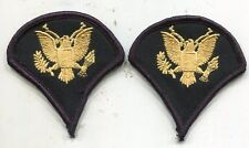 Vintage United States ARMY SPEC 4  Specialist Four RANK SP4 Blue Patches Pair