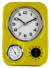 Vintage Diner Style Retro Yellow Wall Clock Thermometer & Timer 33x24x8cm