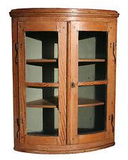 Antique English Convex Hanging Corner Cabinet