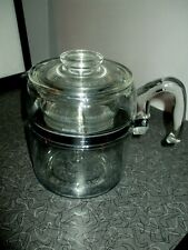 VINTAGE PYREX FLAMEWARE 9 CUP GLASS COFFEE PERCOLATOR 7759 Stainless 50s 60s