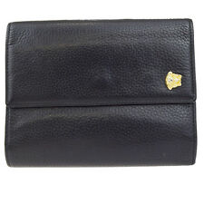 Auth GIANNI VERSACE Medusa Trifold Wallet Purse Leather Black Italy 08Z337