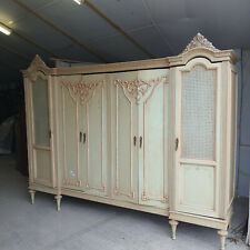 More details for break down,flat pack,antique,large,9' l,french,cream,6 door,armoire,wardrobe,
