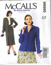 Vintage 30s Retro Lined Jacket Cuffs McCalls Sewing Pattern Plus 14 16 18 20 22