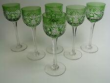 ST LOUIS Crystal - Art DECO Cut - Coloured Hock Glasses - Set of 6