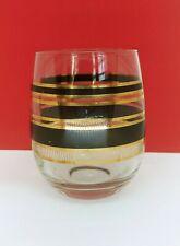 Rare vintagGeorge Briard mid century black and gold colors Glass