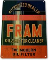 Fram Oil Filter Cleaner Gas Rustic Metal Decor Greasy Auto Shop Garage Sign