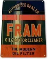 """Fram Oil"" Filter Cleaner Gas Metal Decor Greasy Auto Shop Garage Sign"