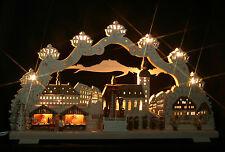 3D-Schwibbogen 68x39cm Weihnachtsmarkt Annaberg mit elekt. Pyramide Erzgebirge