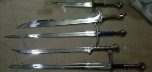 Set of 5 LOTR Swords: Anduril,Orcrist,Thranduil,Glamdring,Handle Shard Swords