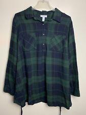 Liz Lange Maternity Women's Flannel 1/2 Button Up Long Sleeve Shirt Size XXL