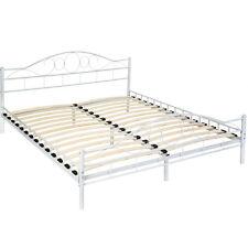 Cama de metal con somier matrimonial doble dormitorio hogar 190x200cm blanco