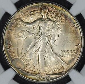 1941-P Walking Liberty Half Dollar NGC MS62 Beautifully Toned Coin!
