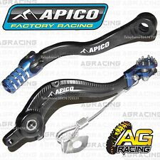 Apico Black Blue Rear Brake & Gear Pedal Lever For Husaberg TE 300 2013 MotoX