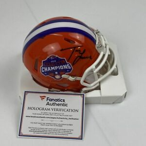 Autographed/Signed TREVOR LAWRENCE Clemson Tigers 2018 Mini Helmet Fanatics COA
