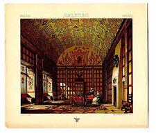 Antique Print Litho ENGLAND 16th Interior Castle Kent 1888 Le Costume Historique