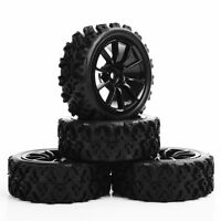 Rubber 4pcs RC 1/10 Rally Tyres Wheel 12mm Hex for HPI HSP Off Road Model Car