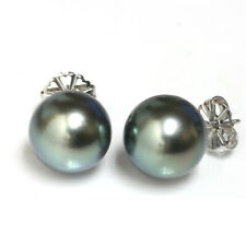 Tahitian South Sea Pearl Stud Earrings 14kt Gold 13 mm Turquoise
