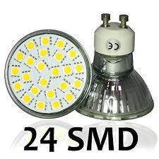 GU10 3.8W LED Bombilla Lámpara Luz Fría Blanco Cálido 24SMD 5050 Carcasa De Cristal Con Tapa