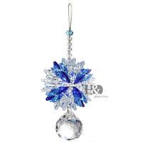 H&D Blue Hanging Suncatcher Crystal Prism Ball Feng Shui Pendant Window Decor