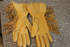 HAND MADE LEATHER GAUNTLET RIDING GLOVES SOUTH DAKOTA NATIVE SZ SMALL FRINGED